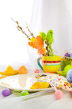 Easter composition table tableware person Royalty Free Stock Image