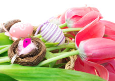 Easter composition with tulips and decorative eggs Royalty Free Stock Photos