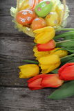 Easter composition with tulips Stock Photo