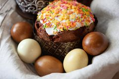 Free Easter Composition With Appetizing, Beautifully Decorated Easter Cake, Dyed Eggs In A Basket On Linen Fabric, Close-up, Side View Royalty Free Stock Photo - 143062075