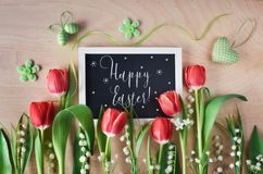 Free Easter Composition With Blackboard Framed With Spring Flowers, T Stock Photography - 111851832
