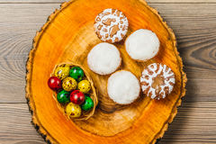 Easter composition on wooden background. Egg royalty free stock image