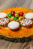 Easter composition on wooden background. Egg royalty free stock photo