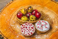 Easter composition on wooden background. Egg Stock Photography