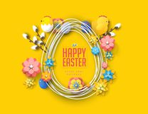 Easter concept banner flyer  colorful eggs rabbit abstract background texture vector illustration
