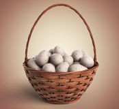 Easter concept. Basket filled with colorful eggs 3D stock image