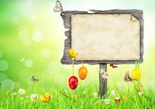 Easter concept with blank sign Royalty Free Stock Photo