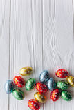 Easter concept . chocolate eggs on a wooden background Stock Photography