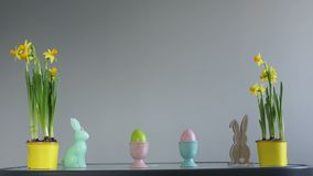 Easter concept. Daffodils in yellow pots, Easter eggs and rabbit figurines. Creative decor, happy easter.  stock video