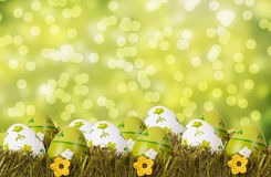 Easter concept. Easter decoration with eggs in the grass Stock Photography
