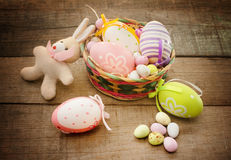 Easter eggs and bunny puppet Stock Photo