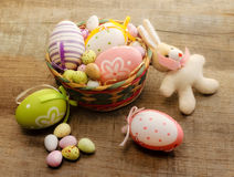 Easter concept with bunny puppet and easter eggs Royalty Free Stock Photos