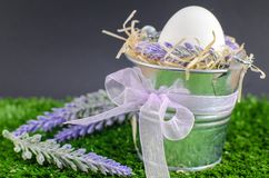 Easter concept - the egg in a decorative pail on the grass with Decker on a bright background.  Royalty Free Stock Image