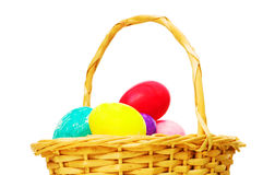 Easter concept with eggs and basket Royalty Free Stock Photography