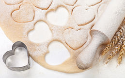 Easter concept flour dough heart and ears Royalty Free Stock Images