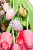 Easter concept with pink tulips, bird nest and decorative eggs Royalty Free Stock Image