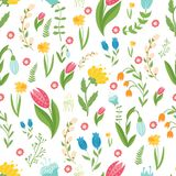 Easter concept seamless pattern. Cute folk flowers. Seamless pattern. Easter concept seamless pattern. Cute flowers. Seamless pattern Royalty Free Stock Photo