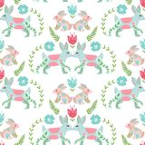 Easter concept seamless pattern. Cute folk rabbits in flowers. Seamless pattern. Easter concept seamless pattern. Cute folk rabbits in flowers. Seamless pattern Royalty Free Stock Photos