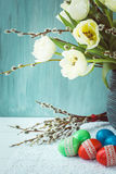 Easter concept. Spring flower and Easter eggs decorated with lace. Selective focus Stock Photography