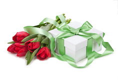 Easter concept. Spring tulip and gift box stock images