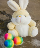 Easter concept, teddy rabbit with colored eggs on the beach, vac. Toy teddy bunny with colored eggs on the wet sand at the seaside Royalty Free Stock Photo