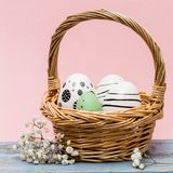 Easter conceptual image  with painted easter eggs in a basket infront of pink background. Easter image with eggs in a basket and white flowers on a blue wooden Royalty Free Stock Photos