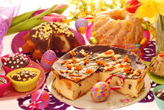 Easter confectionery on festive table Royalty Free Stock Photos