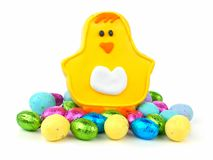 Easter cookie with candy over white Royalty Free Stock Photo