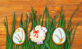 Easter cookie. Little Sheep and Easter eggs Royalty Free Stock Photos