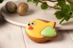Easter cookie with painted bird near plate, quail eggs and green branch royalty free stock photography