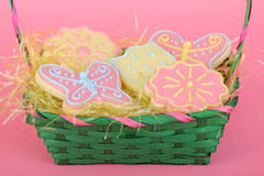 Easter Cookies in a Basket Stock Photography