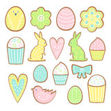 Easter cookies collection. Cookies of different forms isolated on white background Royalty Free Stock Photography