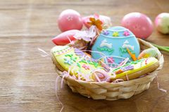 Easter cookies with colorful icing for treats. For the holiday stock photography