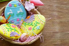 Easter cookies with colorful icing for treats. For the holiday Stock Photos
