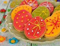 Easter cookies decorated with icing Royalty Free Stock Photo