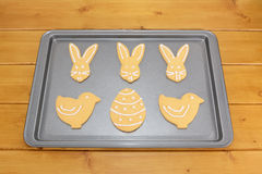 Easter cookies decorated with white frosting Stock Photography