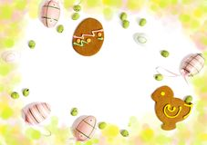 Easter cookies and decoration egg on white background with copy space. stock image