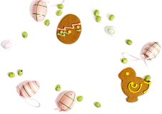 Easter cookies and decoration egg on white background with copy space. stock images