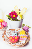 Easter cookies and decorative eggs Royalty Free Stock Photo