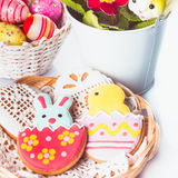 Easter cookies and decorative eggs Royalty Free Stock Photography