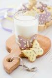 Easter cookies in egg holder, milk Royalty Free Stock Image