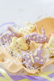 Easter cookies in egg holder Stock Images