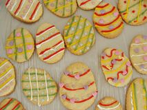Easter cookies. Egg shaped decorated Easter cookies Stock Image