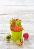 Easter cookies and eggs Royalty Free Stock Photography