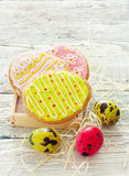 Easter cookies and eggs Royalty Free Stock Images