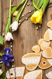 Easter Cookies. Handmade. The background colors of early spring.  Stock Photo