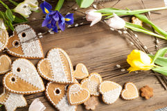 Easter Cookies. Handmade. The background colors of early spring.  Royalty Free Stock Image