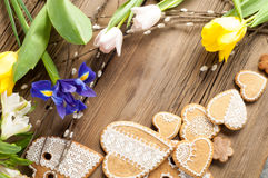 Easter Cookies. Handmade. The background colors of early spring.  Stock Image