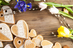 Easter Cookies. Handmade. The background colors of early spring Royalty Free Stock Photo