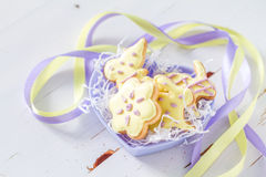 Easter cookies in heart shaped bowl Royalty Free Stock Photography